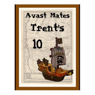 Cumpleaños del barco y del mapa del pirata postal