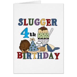 Cumpleaños del bateador del béisbol 4to tarjeta de felicitación