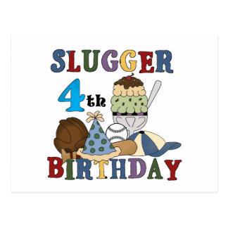 Cumpleaños del bateador del béisbol 4to tarjeta postal