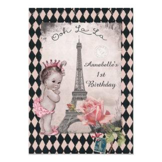 Cumpleaños del bebé de la princesa torre Eiffel Invitación 12,7 X 17,8 Cm