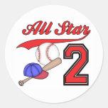 Cumpleaños del béisbol de All Star 2do Pegatinas Redondas