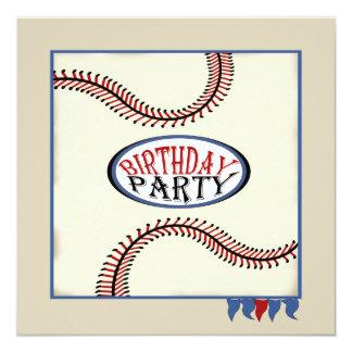 Cumpleaños del béisbol de la ciudad natal invitación 13,3 cm x 13,3cm