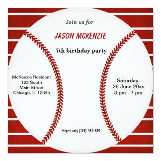 Cumpleaños del béisbol comunicado personalizado