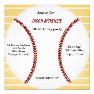 Cumpleaños del béisbol invitaciones personales