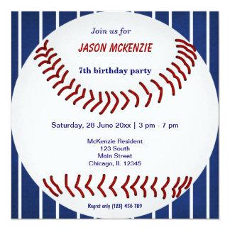 Cumpleaños del béisbol invitación 13,3 cm x 13,3cm
