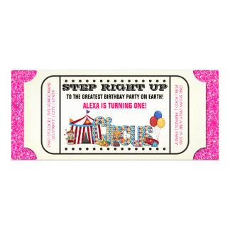 Cumpleaños del boleto del circo del vintage invitación 10,1 x 23,5 cm