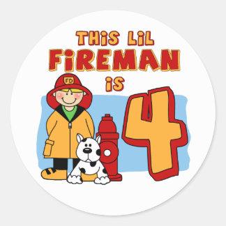 Cumpleaños del bombero de Lil 4to Pegatina Redonda