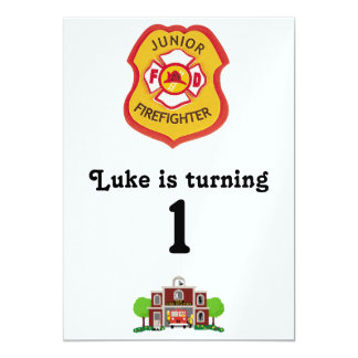cumpleaños del bombero invitación 12,7 x 17,8 cm