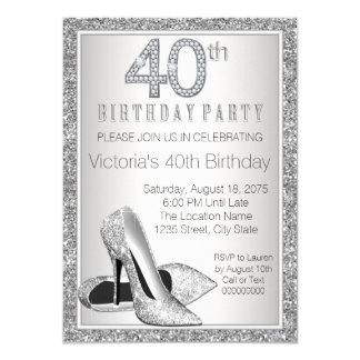 Cumpleaños del brillo de la mujer 40.o del zapato invitación 11,4 x 15,8 cm