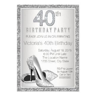 Cumpleaños del brillo de la mujer 40.o del zapato invitación 12,7 x 17,8 cm