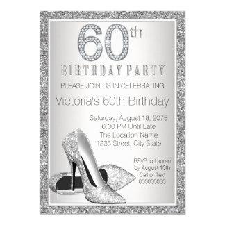 Cumpleaños del brillo de la mujer 60.o del zapato invitación 12,7 x 17,8 cm