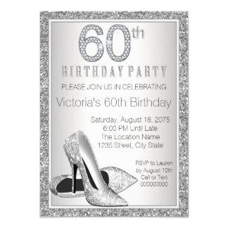 Cumpleaños del brillo de plata de la mujer 60.o invitación 11,4 x 15,8 cm