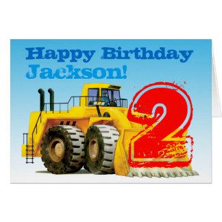 Cumpleaños del cavador amarillo del muchacho de tarjeta de felicitación