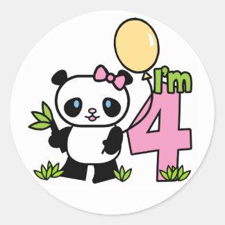 Cumpleaños del chica de la panda 4to etiqueta redonda