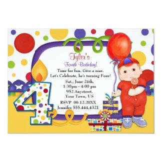 Cumpleaños del circo del lunar cuarto invitación 12,7 x 17,8 cm