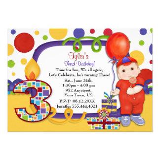 Cumpleaños del circo del lunar tercer anuncio personalizado