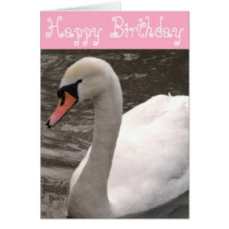 Cumpleaños del cisne del feliz cumpleaños tarjeta de felicitación