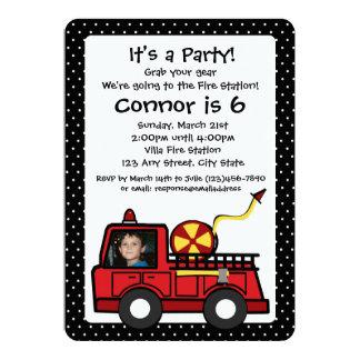Cumpleaños del coche de bomberos con la foto invitación 12,7 x 17,8 cm