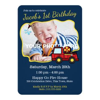 Cumpleaños del coche de bomberos con la foto invitación 11,4 x 15,8 cm