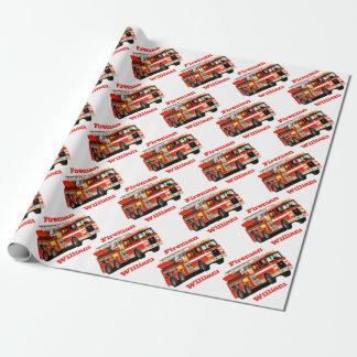 Cumpleaños del coche de bomberos conocido de papel de regalo