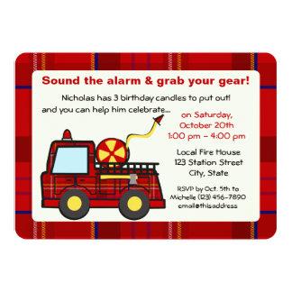 Cumpleaños del coche de bomberos de la tela invitación 12,7 x 17,8 cm