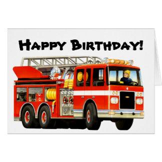 Cumpleaños del coche de bomberos del niño tarjeta de felicitación