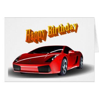 Cumpleaños del coche de deportes feliz tarjeta de felicitación