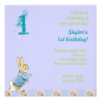 Cumpleaños del conejo y de los amigos invitación 13,3 cm x 13,3cm