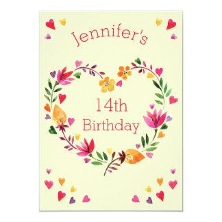 Cumpleaños del corazón de la acuarela 14to del invitación 12,7 x 17,8 cm