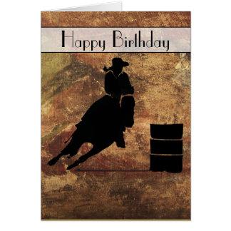Cumpleaños del corredor del barril de la vaquera tarjeta de felicitación