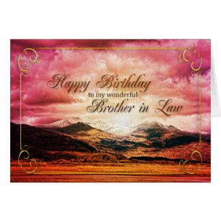 Cumpleaños del cuñado, puesta del sol sobre las tarjeta