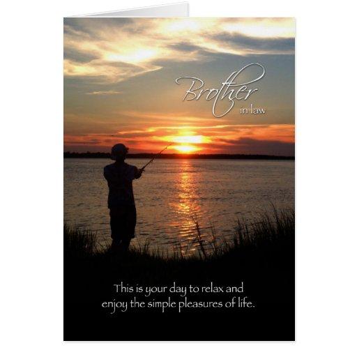Cumpleaños del cuñado, silueta de la pesca de la tarjetón