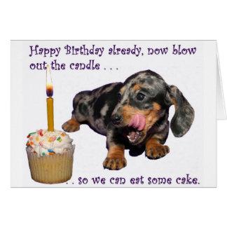 Cumpleaños del Dachshund Tarjeta De Felicitación