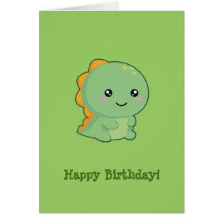 Cumpleaños del dinosaurio de Kawaii feliz Tarjeta De Felicitación