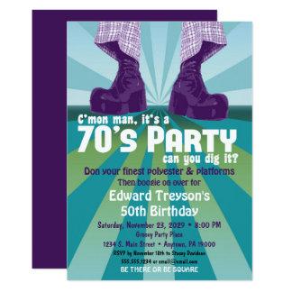 cumpleaños del disco de los años 70 de la invitación 12,7 x 17,8 cm