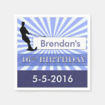 Cumpleaños del diseñador del esquiador del agua servilletas de papel