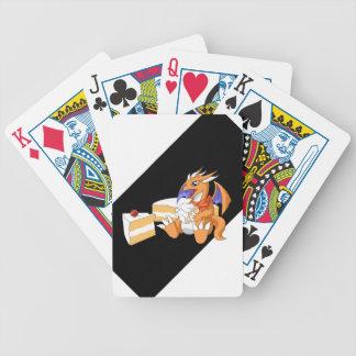 Cumpleaños del dragón con los naipes de la torta b baraja cartas de poker