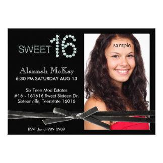 Cumpleaños del dulce 16 de la foto de la corbata d comunicado personalizado