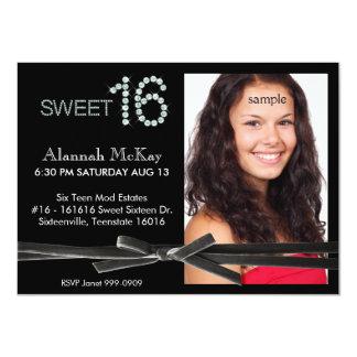 Cumpleaños del dulce 16 de la foto de la corbata comunicado personalizado