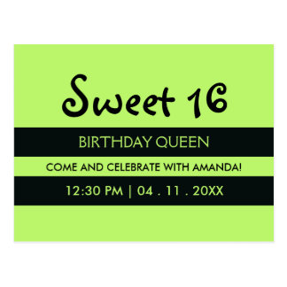Cumpleaños del dulce dieciséis de las rayas negras postal