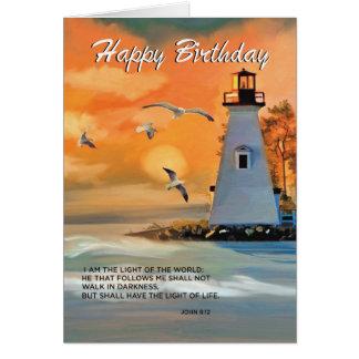 Cumpleaños del faro, cielo de oro, religioso tarjeta de felicitación