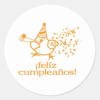 ¡cumpleaños del felíz del ¡! ¡= feliz cumpleaños! pegatinas redondas