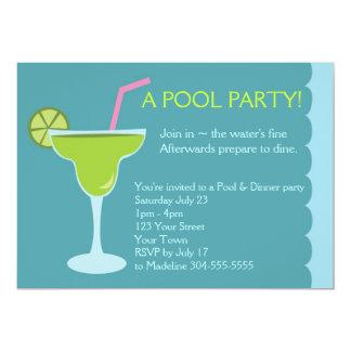 Cumpleaños del fiesta de la piscina y de cena invitación 12,7 x 17,8 cm