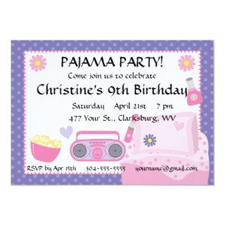 Cumpleaños del fiesta de pijama invitación