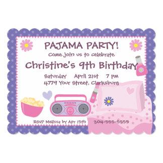 Cumpleaños del fiesta de pijama invitación personalizada