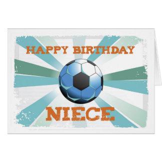Cumpleaños del fútbol de la sobrina con la bola, tarjeta de felicitación