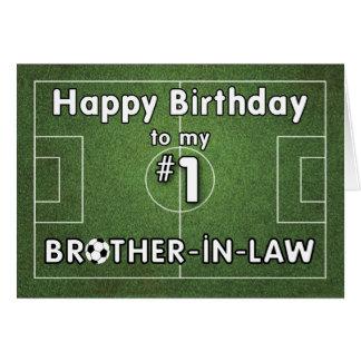 Cumpleaños del fútbol del cuñado con el campo de tarjeta de felicitación