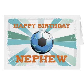 Cumpleaños del fútbol del sobrino con la bola, tarjeta de felicitación