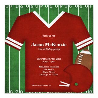 Cumpleaños del fútbol (rojo) invitación 13,3 cm x 13,3cm