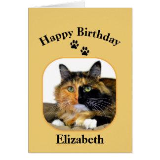 Cumpleaños del gato de calicó de Elizabeth feliz Felicitación